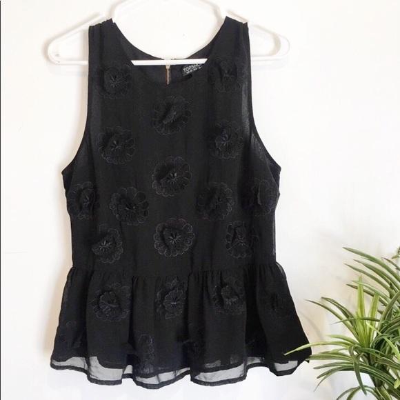360c41494a80 Topshop Black Peplum 3D Floral Blouse. M_5b5ca43c0945e0c472c46187